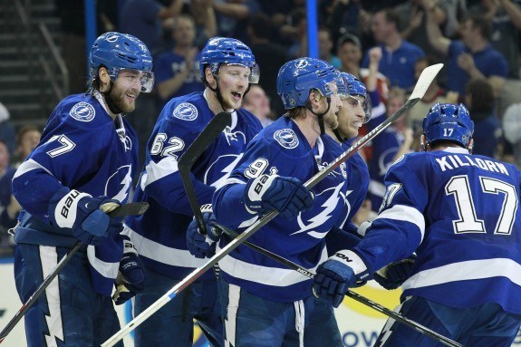 Tampa Bay Lightning center Alex Killorn (17) celebrates with his teammates after scoring a goal against the New York Rangers during the second period of game three of the Eastern Conference Final of the 2015 Stanley Cup Playoffs at Amalie Arena. (Kim Klement-USA TODAY Sports)