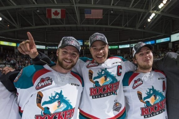 (Marissa Baecker/Shoot The Breeze) Josh Morrissey, left, and Madison Bowey, middle, anchor the Kelowna Rockets' blue-line.