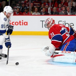 Tampa Bay Lightning forward Steven Stamkos and Carey Price