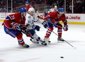Montreal Canadiens defensemen Jeff Petry and Alexei Emelin and Tampa Bay Lightning forward Steven Stamkos