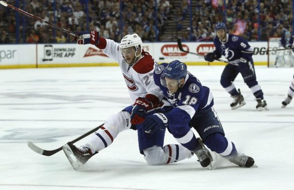 Alex Galchenyuk and Tampa Bay Lightning forward Ondrej Palat