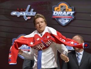 Ilya Samsonov models the new Washington Capitals' third jersey (Steve Mitchell-USA TODAY Sports)