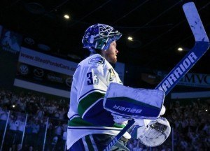 Markstrom, a second round pick by the Florida Panthers in 2008 (31st overall) has never played more than 23 NHL games in a year during his five seasons, which is bound to change next year. (Cecelia Gulius/Utica Comets)