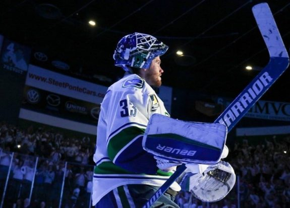 Will Jacob Markstrom finally be able to translate his AHL success into NHL prosperity? (Credit: Cecelia Gulius/Utica Comets)