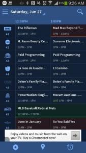Screenshot of local TV Listings- TVGuide.com app