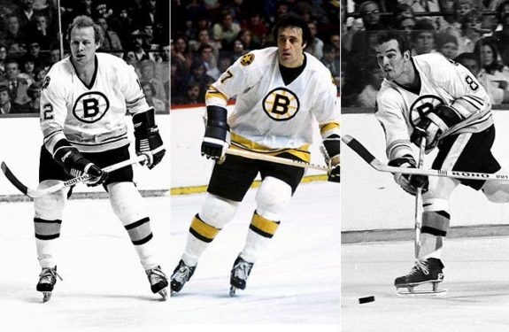 The Bruins' great line of Phil Esposito, Wayne Cashman, Ken Hodge