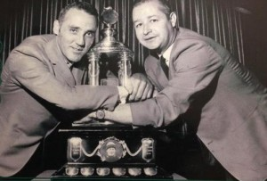 Jacques Plante and Glenn Hall shared the 1969 Vezina Trophy.