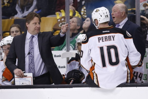 (Greg M. Cooper-USA TODAY Sports) There is plenty of finger-pointing to go around in Anaheim, but Corey Perry hasn't been putting the puck in the net like years past. He's part of the problem right now and needs to become part of the solution sooner than later. Ditto for the coaching staff, including assistant Brad Lauer, left, and bench boss Bruce Boudreaux, above right.