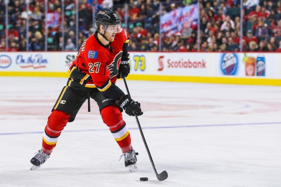 (Sergei Belski-USA TODAY Sports) Dougie Hamilton didn't hit the ground running in Calgary, but he's hitting his stride now and still has he potential to be one of the top fantasy defencemen in the future. You would regret trading him for depth guys like Scott Hartnell and Anton Stralman.
