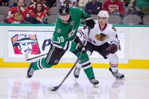 After spending his rookie year skating with Jamie Benn and Tyler Seguin, Nichushkin is developing chemistry with a new center, Jason Spezza. (Jerome Miron-USA TODAY Sports)