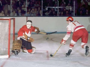 Valeri Kharlamov in alone on Tony Esposito.