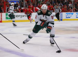 Zach Parise scored a hat trick in the Wild's season opener to push his team back from a four-goal deficit Thursday night. (Dennis Wierzbicki-USA TODAY Sports)