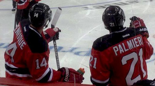 Adam Henrique & Kyle Palmieri chat before the New Jersey Devils scrimmage at Prudential Center (Dan Rice/THW)