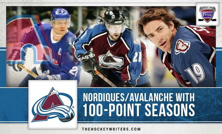 100 point seasons Colorado Avalanche Quebec Nordiques Joe Sakic Peter Stastny Peter Forsberg