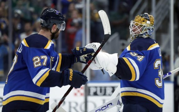 St. Louis Blues Jake Allen and Alex Pietrangelo