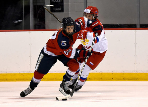 Amanda Kessel during preseason with the New York Riveters. (Photo Credit: Troy Parla)