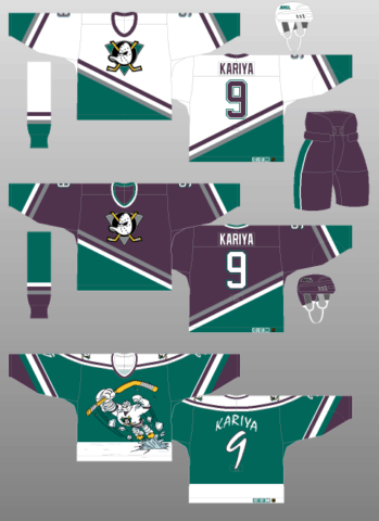 Anaheim Mighty Ducks 1995-96 Jerseys