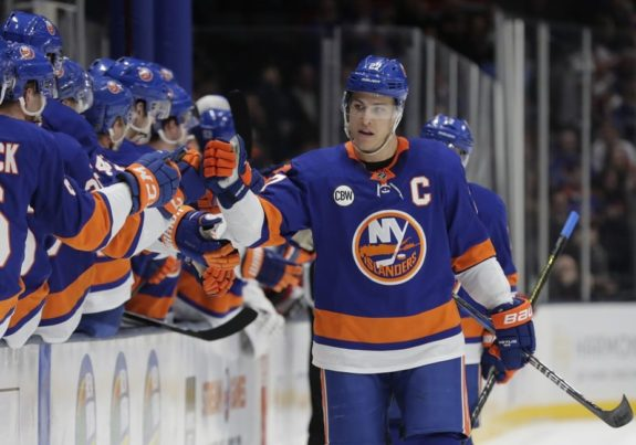 New York Islanders Anders Lee celebrates with teammates (AP Photo/Frank Franklin II)