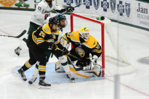 Michigan Tech's Angus Redmond and Michael Neville. Photo: Michigan Tech Athletics