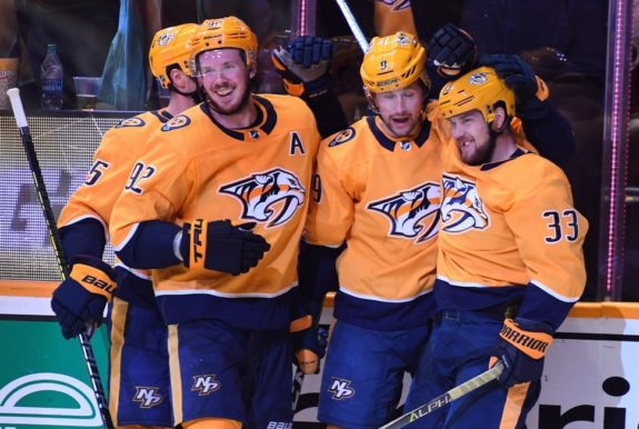 Nashville Predators Viktor Arvidsson, Ryan Johansen, Filip Forsberg