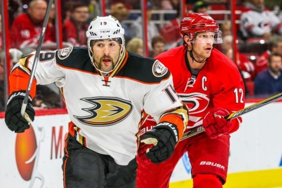 Anaheim Ducks left wing Patrick Maroon (19) and Carolina Hurricanes center Eric Staal (12) during the NHL game between the Anaheim Ducks and the Carolina Hurricanes at the PNC Arena.