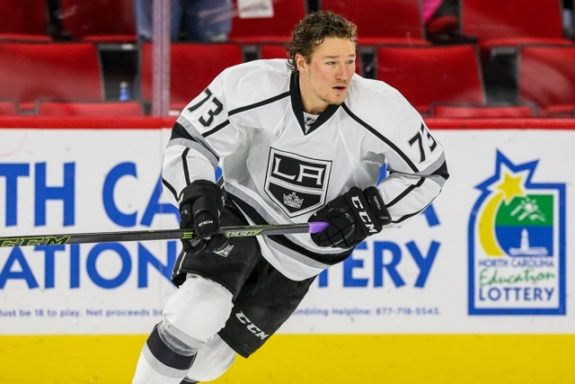Los Angeles Kings center Tyler Toffoli (73) during the NHL game between the Los Angeles Kings and the Carolina Hurricanes at the PNC Arena.