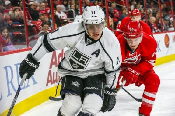 (Photo By: Andy Martin Jr.) Anze Kopitar, left, isn't exactly lighting it up in his contract year, but he hasn't had to. The Kings as a collective group are cruising right along as the top seed in the Pacific Division after missing the playoffs as the defending Stanley Cup champions last season.
