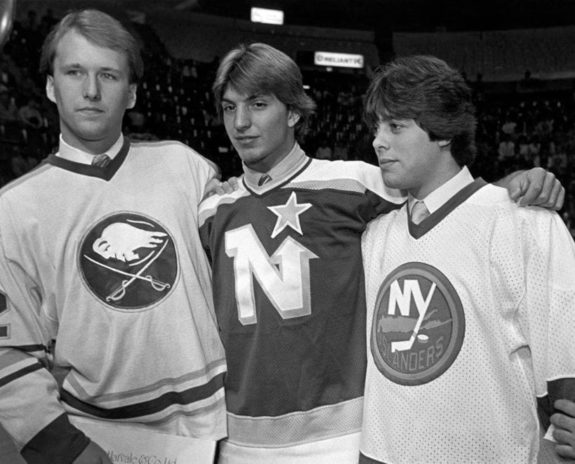 Brian Lawton of the Minnesota North Stars, Tom Barrasso of the Buffalo Sabres and third pick overall Pat LaFontaine