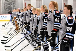 The Buffalo Beauts line up for the national anthem before Game 1 of the Isobel Cup Final in New Jersey. (Photo Credit: Troy Parla)