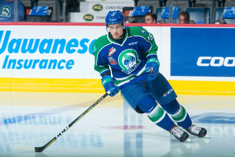Beck Malenstyn #19 of the Swift Current Broncos