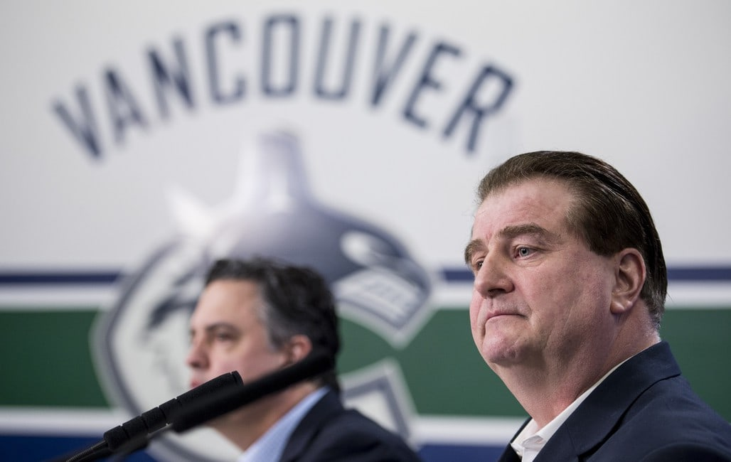 Vancouver Canucks general manager Jim Benning head coach Travis Green