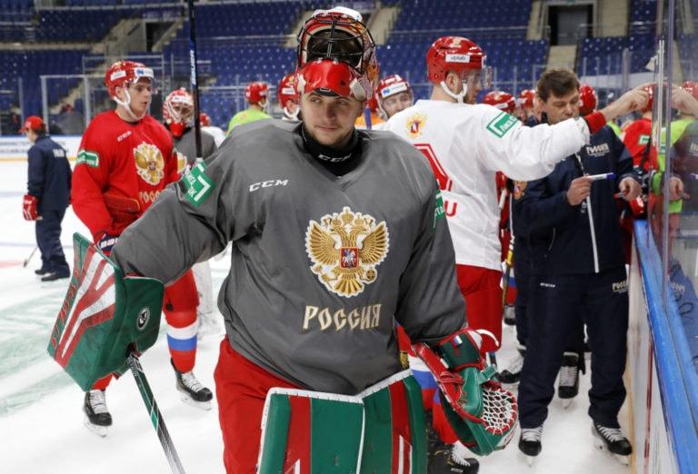 Goaltender Timur Bilyalov of the Russian national team