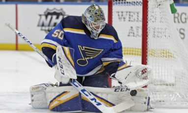 Binnington Makes 40 Saves to Help Blues Beat Flames 5-0