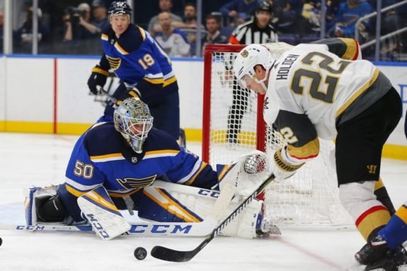 St. Louis Blues Jordan Binnington Vegas Golden Knights' Nick Holden