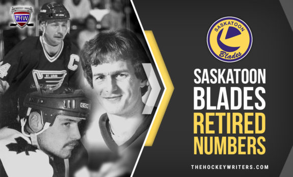 Bob Bourne, Bernie Federko and Wendell Clark Saskatoon Blades Retired Numbers