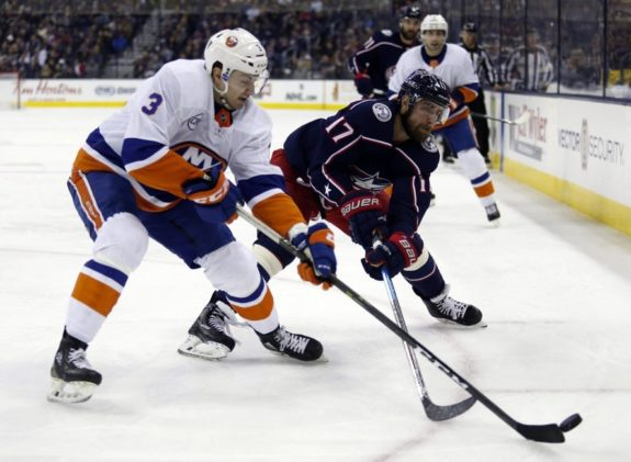 New York Islanders and Columbus Blue Jackets battle for playoff positions.