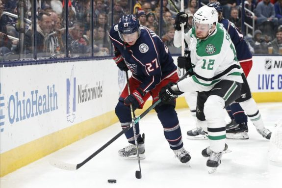 Columbus Blue Jackets' Ryan Murray Dallas Stars' Radek Faksa