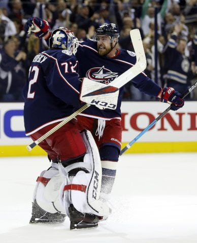 Columbus Blue Jackets' Sergei Bobrovsky and Brandon Dubinsky