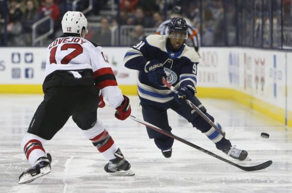Columbus Blue Jackets' Anthony Duclair and New Jersey Devils' Ben Lovejoy