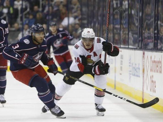 Ottawa Senators' Mark Borowiecki and Columbus Blue Jackets' Seth Jones
