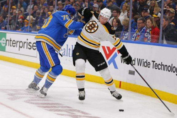 Boston Bruins' Charlie Coyle St. Louis Blues' Oskar Sundqvist