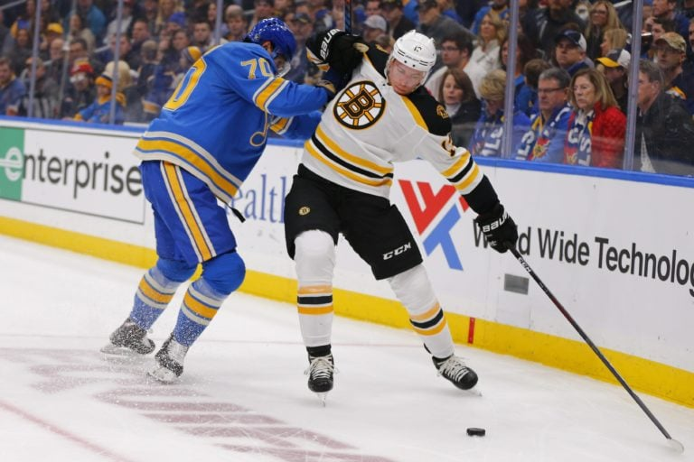 Boston Bruins' Charlie Coyle St. Louis Blues' Oskar Sundqvist