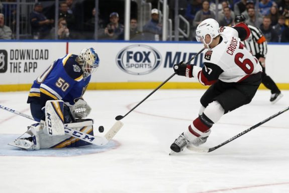 St. Louis Blues Jordan Binnington Arizona Coyotes Lawson Crouse