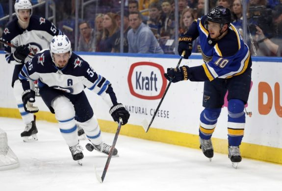 St. Louis Blues' Brayden Schenn Winnipeg Jets' Mark Scheifele
