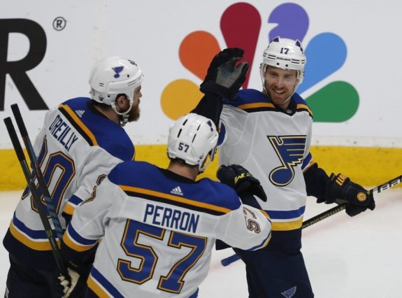 St. Louis Blues' Ryan O'Reilly David Perron Jaden Schwartz