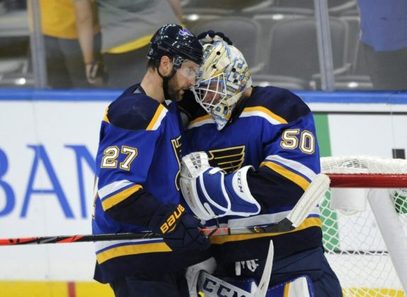 St. Louis Blues' Jordan Binnington Alex Pietrangelo