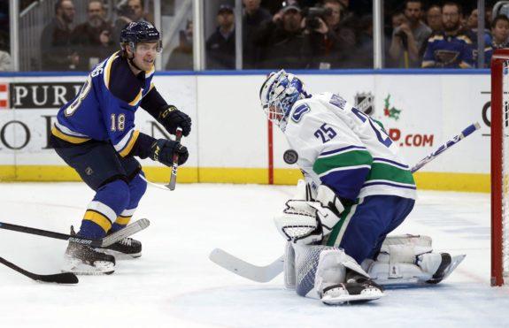 Vancouver Canucks goaltender Jacob Markstrom St. Louis Blues' Robert Thomas