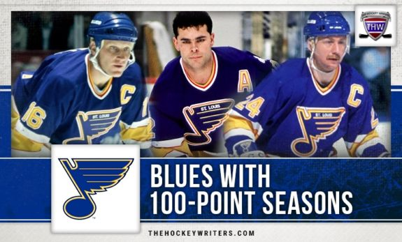 St. Louis Blues 100 point seasons Brett Hull, Bernie Federko, and Adam Oates