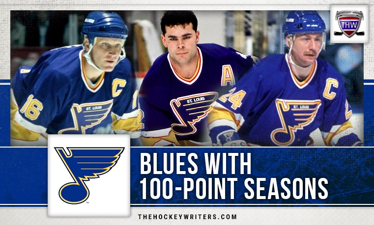 St. Louis Blues 100 point seasons Brett Hull, Bernie Federko, and Adam Oates