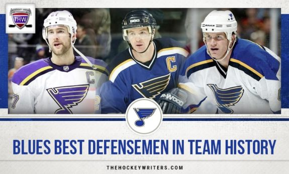 Top St. Louis Blues Defensemen of all-time Al MacInnis, Alex Pietrangelo and Chris Pronger